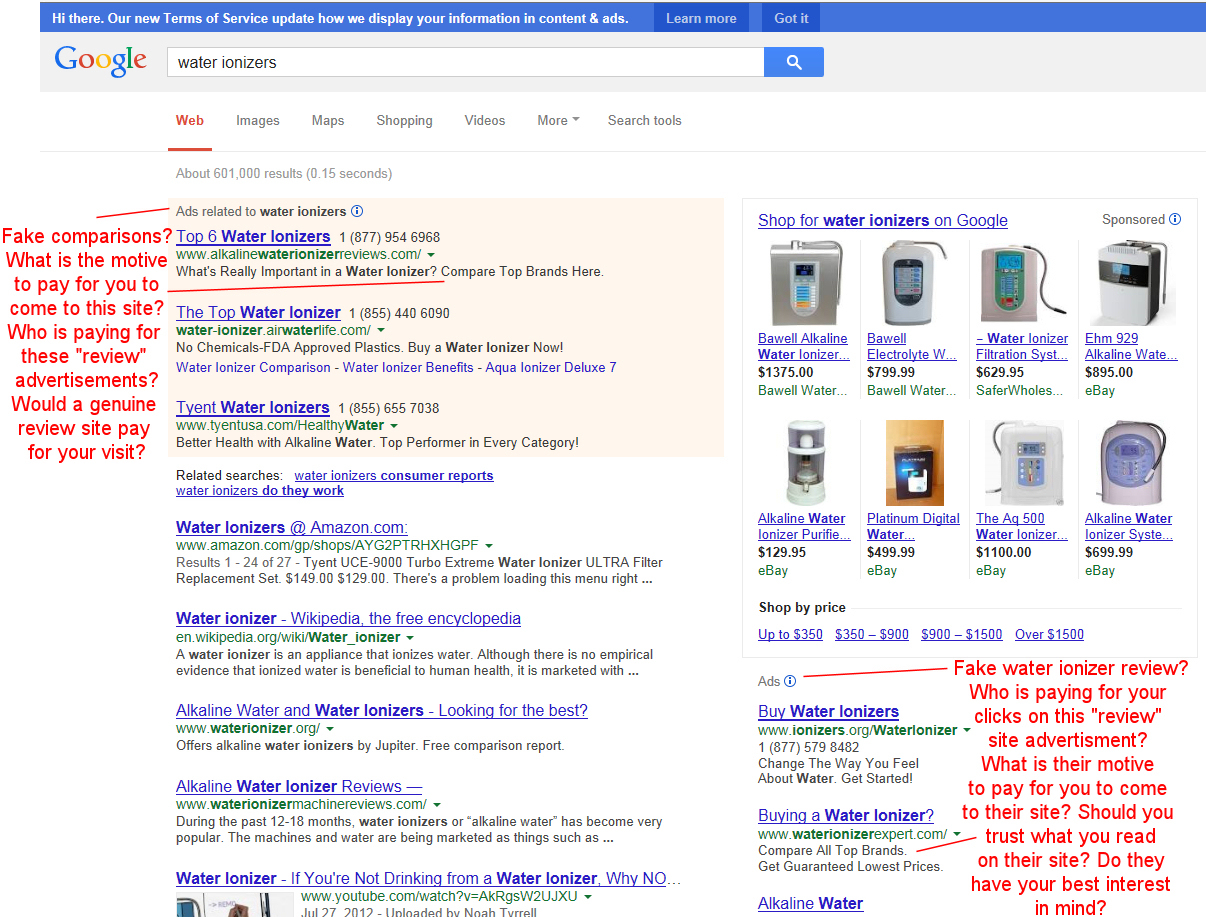 fake water ionizer review websites