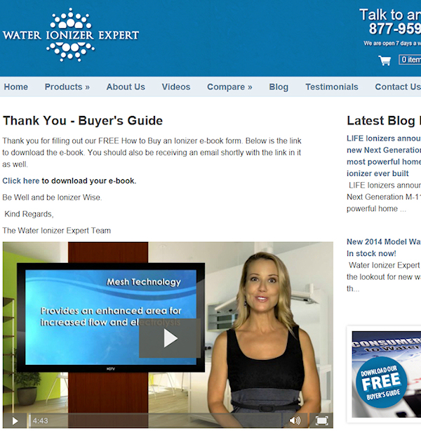 Fake water ionizer review website video
